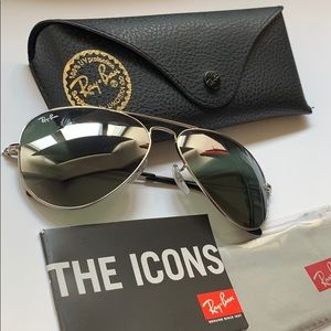 Authentic Ray-Ban aviators Sunglasses in silver